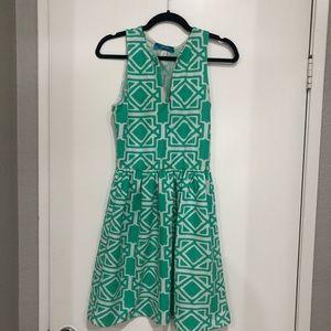 🔴Francesca's teal and white geometric dress